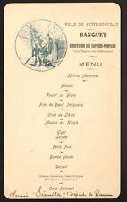 Menu. Banquet Sapeurs-Pompiers. Petit Quevilly. Vers 1910. Normandie