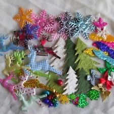 50 Mixed Christmas Pack Reindeer Bows Xmas Trees Snowflakes Bells Angel Wi
