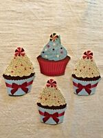 Christmas Cupcake With Touch of Glitter - 4 - Iron-On Fabric Appliques.