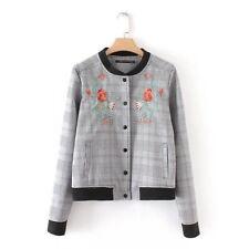 Stylish Embroidery Houndstooth Women Jacket - Gray