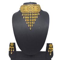 Indian Padmavati Design Kundan CZ Choker Necklace Earrings Wedding Jewellery Set