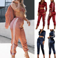 Sports Womens Casual 2PCs Full Tracksuit Striped Zipper Track Jacket+Pants Suits