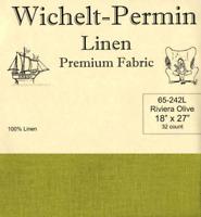 Wichelt Permin PREMIUM LINEN FABRIC 32 Count Cross Stitch 18 x 27 RIVIERA OLIVE