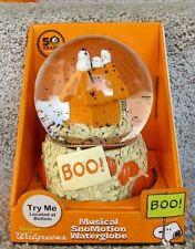 "Snoopy Halloween Water Globe Peanuts Charlie Brown 10"" Pumpkin Fall Musical"