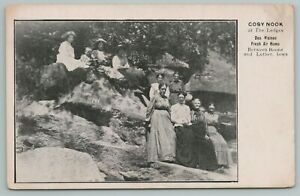 Boone & Luther Iowa~Cozy Nook at Ledges State Park~Victorian Ladies Rocks~c1905