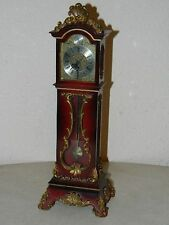 "VINTAGE WIND-UP SCHMID 8 DAY MINIATURE RED GRANDFATHER CLOCK WORKS 13"" TALL **NR"