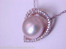 $1299 SWEETHEART 14K ROSE SHIMMERY PINK PEARL 41 DIAMOND HEART PENDANT W/CHAIN