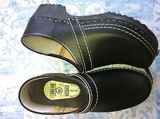 Dutch Leather Wooden Clog Shoe  Black HUGE WINTER SALE & Free Gift