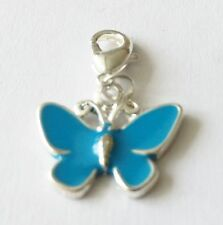 BLUE AND SILVER BUTTERFLY- CLIP ON CHARM FOR BRACELETS - SILVER PLATE - NEW
