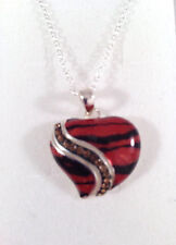"""New Heart With Genuine Crystals & Multicolor Enamel and 925 Sterling Silver 18"""""""