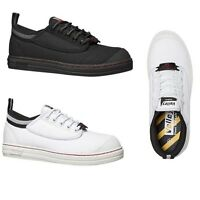 VOLLEY SAFETY STEEL CAP Mens Black Grey White Toe Caps Volleys Work Lace Shoes