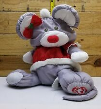 Vintage Fisher Price 1988 PUFFALUMP GREY CHRISTMAS MOUSE 8034 Plush Toy