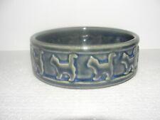 Vintage Blue Gray Stoneware Cat Bowl Cats Encircling Whole Dish