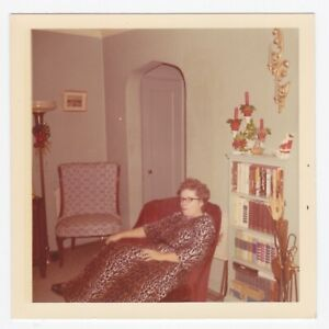 Square Vintage 60s PHOTO Woman in Ocelot Tiger Animal Pattern Robe