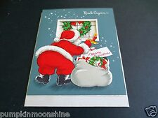 Vintage Unused Die Cut Xmas Greeting Card Santa With Gift Bag Looking in Window