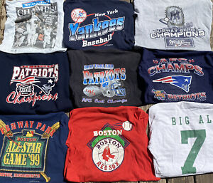 Vintage Sports Shirt Bundle World Series Super Bowl Patriots Yankees Red Sox