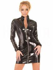 Women Black Wetlook PVC Leather Zip Long Sleeve Mini Dress Clubwear Bodycon