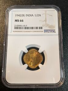 1942 B MS66 India 1/2 Anna NGC UNC KM 534b.2 George VI Bombay Mint only 2 higher