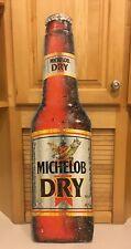 "Vintage Michelob Dry Metal 30"" Beer Bottle Shaped Advertising Sign"