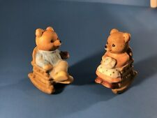 Set of 2 Teddy Bear Figurines - Mama & Papa Bear In Rocking Chairs