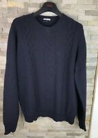 Jaeger Mens Size L Navy Chunky Cable Knit Wool Jumper Sweater
