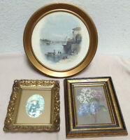 "Vintage Small Gold Gilt Style Frame - 3 Piece Lot 10"" Round Nautical - Victorian"
