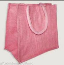 Large Pink Jute Hessian Shopping Bag - Padded Handles  - laminated inside