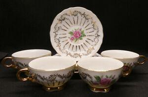 Japanese Tea Set with Roses and Gold