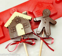 4 cell GINGERBREAD MAN MEN HOUSE Chocolate Silicone Cake Lolly Mould Candy Mold