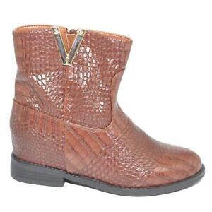 Stivaletto scarpe donna cuoio stampa pitonata para zeppa 5 cm interna scollo a v