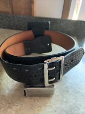 Vintage Smith Amp Wesson Heavy Leather Police Duty Belt Basket Weave 38 Withcuff