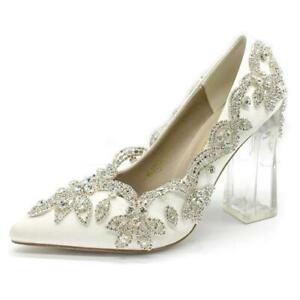 Stylish Wedding Women Shoes Sandals Rhinestone Clear Heels Block Plus Size Silk