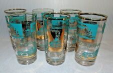 MCM Vintage Libbey Glass Southern Comfort Riverboat Highball Set of 6 Aqua Gold