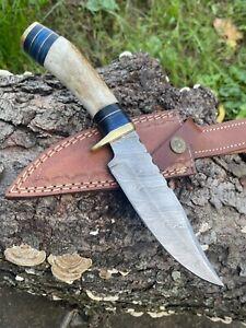 AUK121 Custom Handmade Damascus Steel Stag Horn Handle Knife.