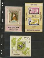 Topical Collection 10 Souvenir Sheets Aden South Arabia Art Olympics Space MNH