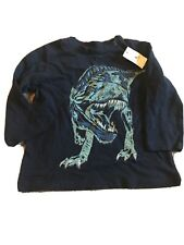 New Baby Gap Blue Long Sleeve T-Rex Shirt Size 12-18 M