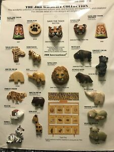 """JHB's  """"The JHB Wildlife Collection"""" - 1999 Salesman Sample Button Card"""