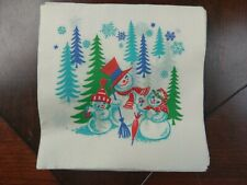 Vtg Christmas Paper Napkin Coaster Snowman Holly Red Green Blue 12 Count