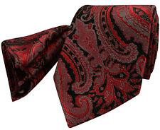 Deep Salmon Red Tie NEW Paisley Grey Silver Black Silk FREE Hanky Set pr13