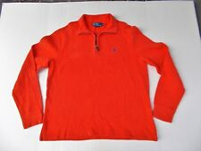 Polo Ralph Lauren Orange Sweater Sz M  1/4 Zipper Blue Pony Mockneck