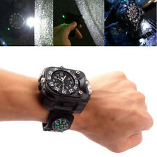 LED Tactical Dial Display Rechargeable Wrist Watch Flashlight Torch Watch Light