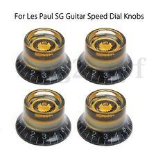 4pcs Electric Guitar Metal Dome Knob Speed Volume Tone Control Knob Black&Gold