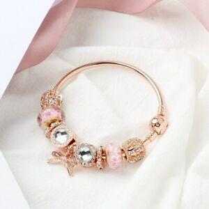 Original Pandoras 925 Silver Rose Gold Opal Brilliant Bow crystal women Bracelet