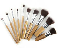 BAMBOO 10pc Eco Friendly Cruelty Free Cosmetic KABUKI Make Up Brush Set & Pouch