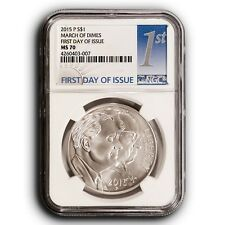 2015-P March of Dimes NGC MS70 First Day Of Issue Silver One Dollar Coin