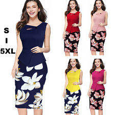 Women Floral Plus Size Sleeveless Bodycon Party Evening Cocktail Pencil Dress