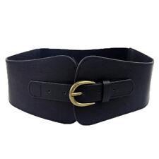 USA Womens Super Wide Faux Leather Waist Belt Stretch Elastic Corset Waistband