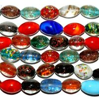 G3549 Assorted Color w Glitter, Foil & More 23mm Oval Lampwork Glass Beads 15""