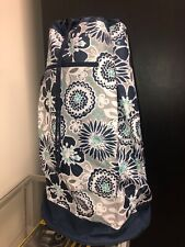 Thirty One Cinch It Up Super Sac Awesome Blossom Blue Floral Duffle Tote Bag