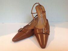 "Talbots brown classic pump with toe box belt & buckle 3"" heel 6.5M EUC"